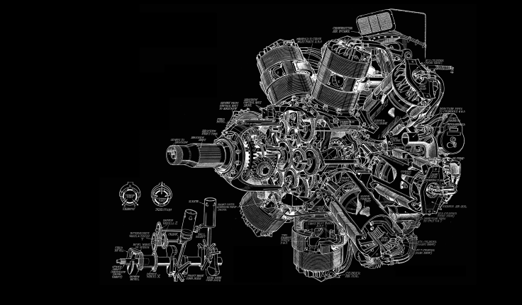 Engine Diagram BW Black Aircraft Airplane Wallpaper Background
