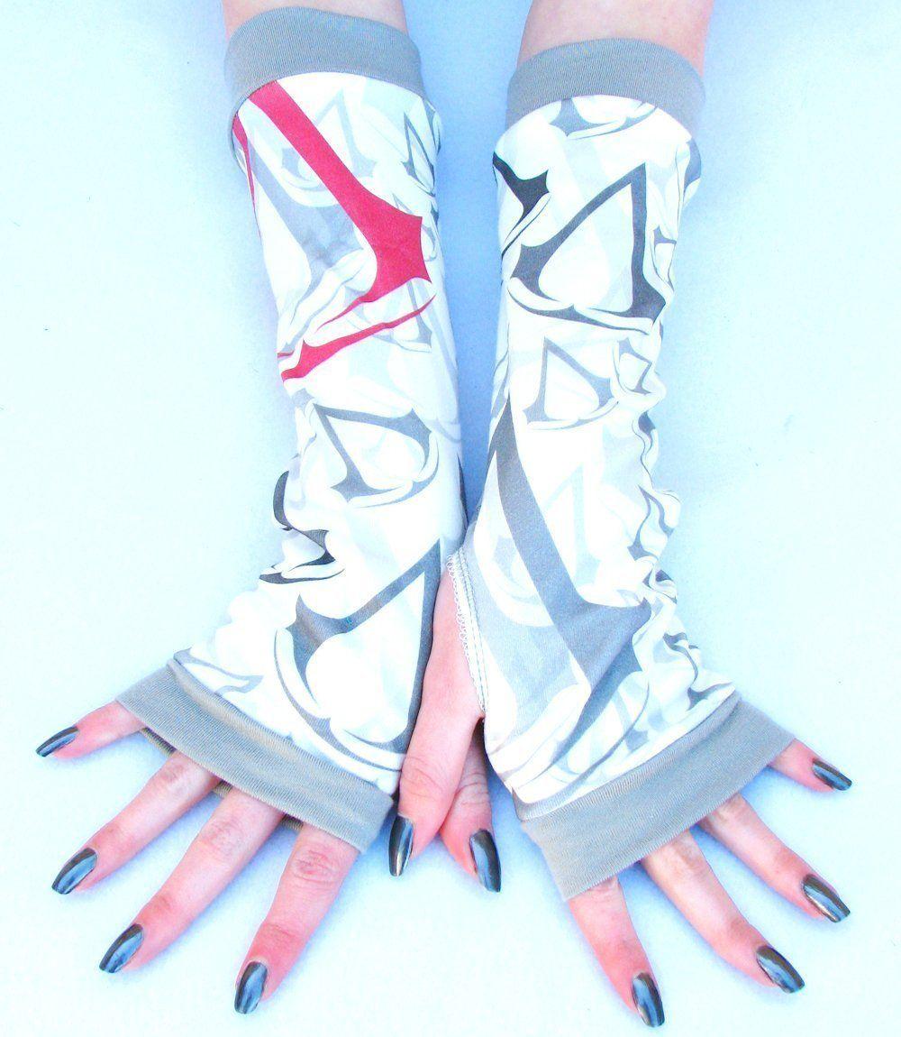 Fingerless gloves for gaming - Assassin Creed Inspired Arm Warmers Fingerless Gloves Gamer Gift