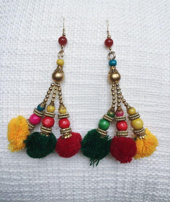 new delhi dangle earrings with vintage indian pom pom tassels carnelian 24k gold ethnic. Black Bedroom Furniture Sets. Home Design Ideas