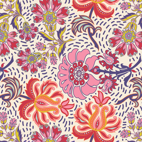 Spring Friends Floral Paisley with dots fabric by shellypenko on Spoonflower - custom fabric