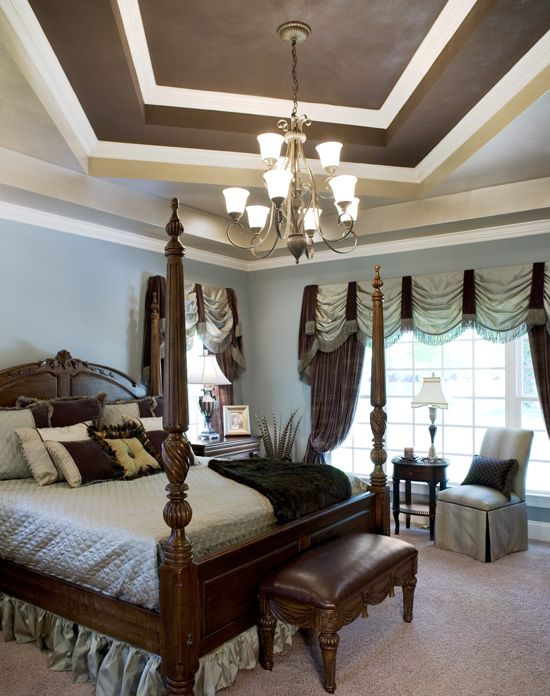 Chocolate Brown Trey Pale Blue Walls With White Crown Molding Gorgeous