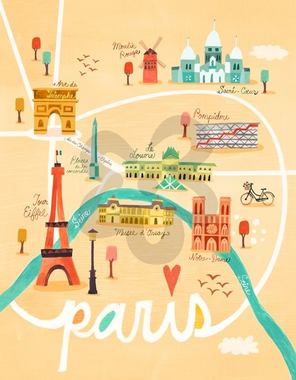 Map of Paris, Paris Girl Canvas Wall Art | Oopsy Daisy | kiddo\'s ...