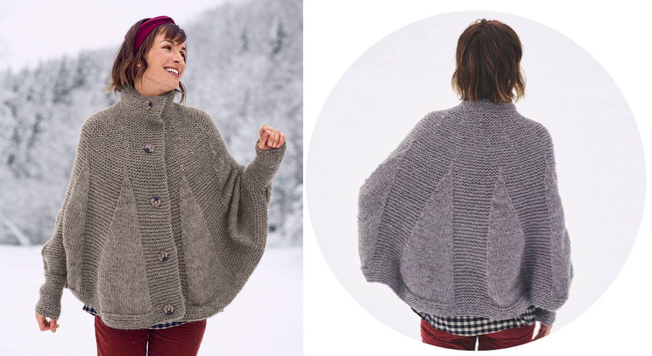 grande vente garantie de haute qualité recherche d'authentique Le poncho cape boutonné | explication tricot | Knitted ...