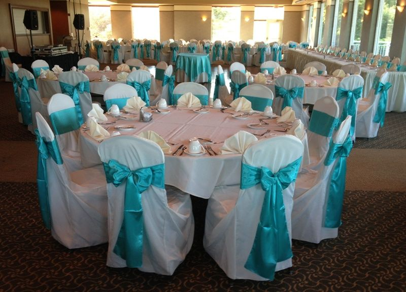 Tiffany Blue Sashes on Ivory Chair Covers Wedding Linens by