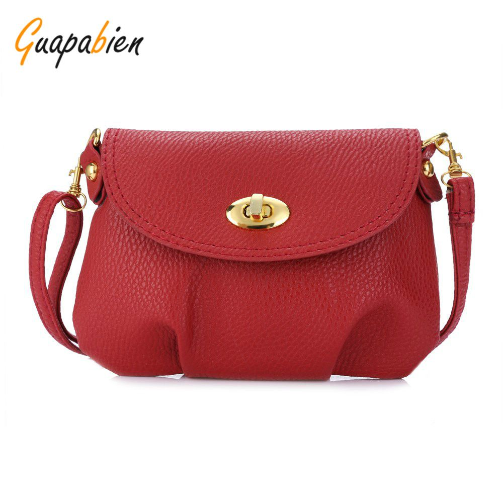 e01657426798 Guapabien Fashion Vintage Women Handbag Twist lock Detachable Strap Shoulder  Messenger Mini Bag Crossbody Leather Small