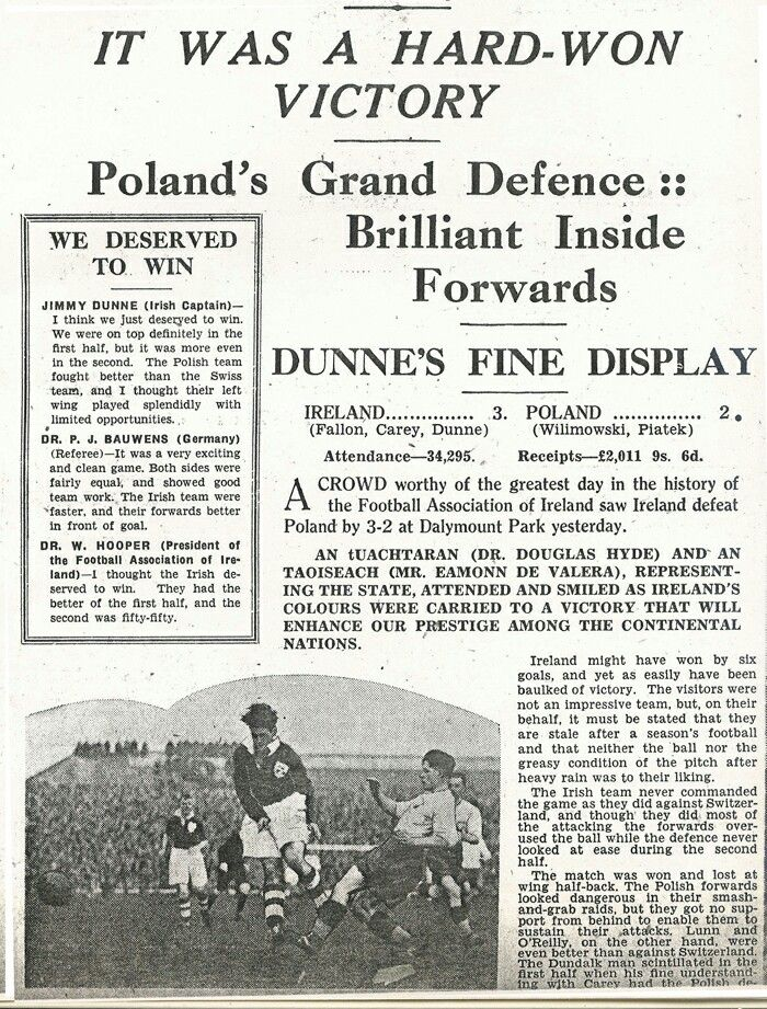 Ireland 3 Poland 2 In Nov 1938 In Dublin. Newspaper Report On The