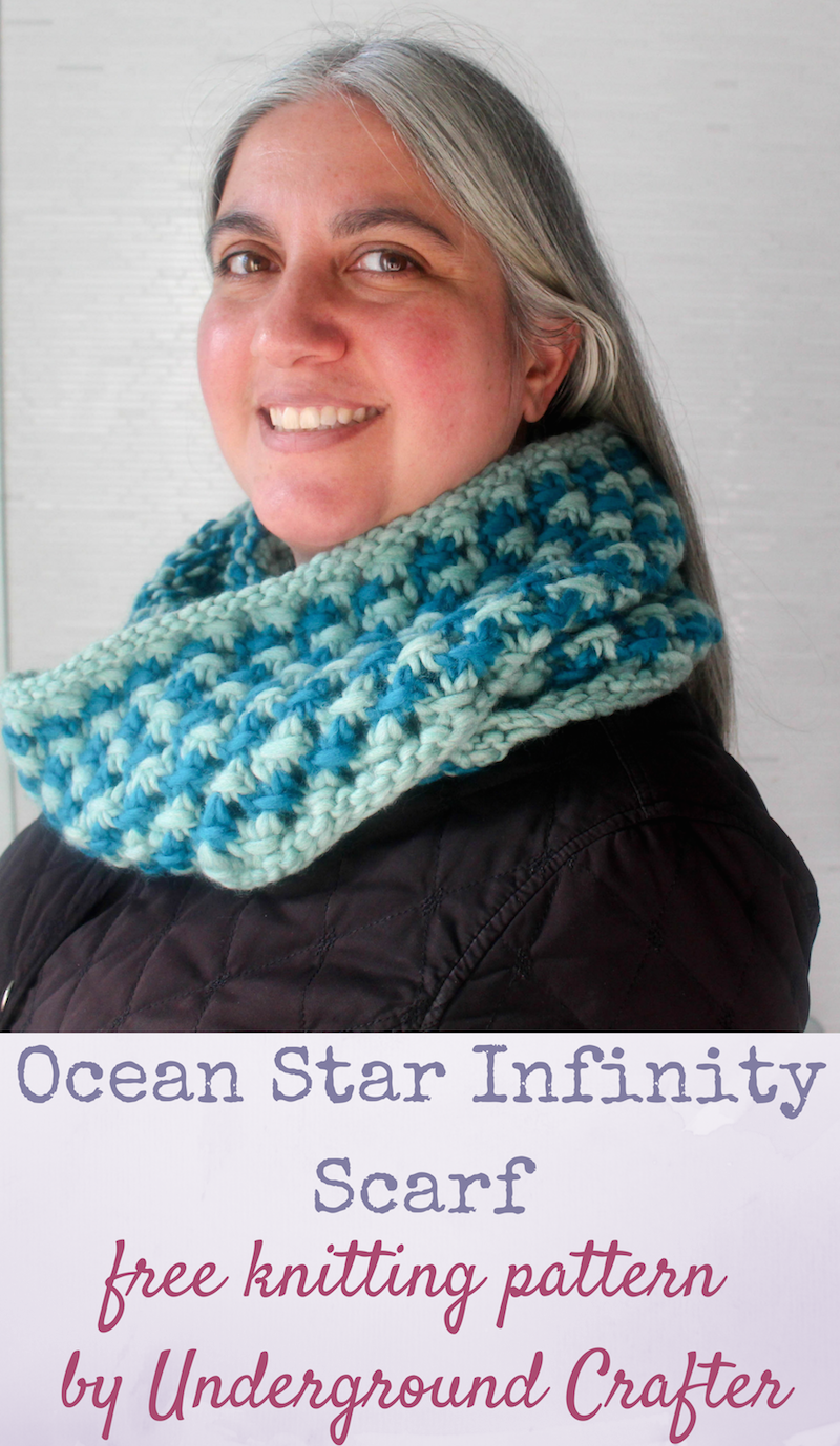 Free knitting pattern ocean star infinity scarf in patons classic free knitting pattern ocean star infinity scarf in patons classic wool roving by underground crafter bankloansurffo Gallery