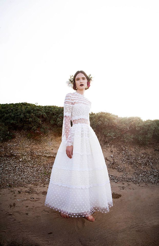 Polka Dots Tulle The Romantic Costarellos Spring 2017 Bridal Collection Onefabday Com Polka Dot Wedding Dress Wedding Dress Long Sleeve Wedding Dress Trends