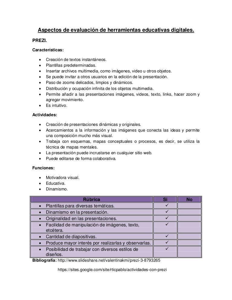 Rubrica de evaluación de herramientas educativas digitales ...