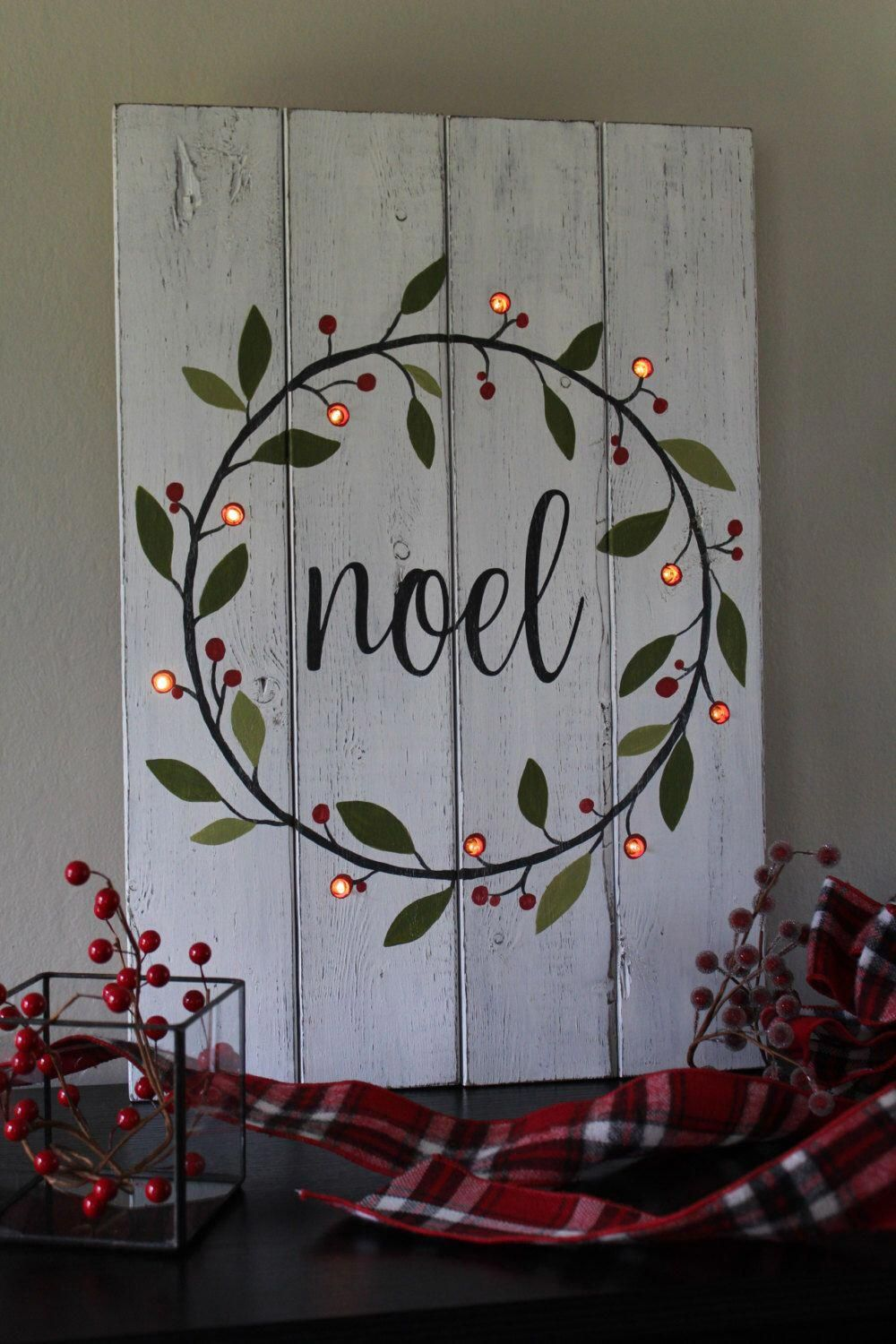 Photo of Noel Sign Lighted Christmas Sign Hand Painted Wood Sign Lighted Christmas Wreath Rustic Home Decor Mantle Decor Distressed Wood Gift