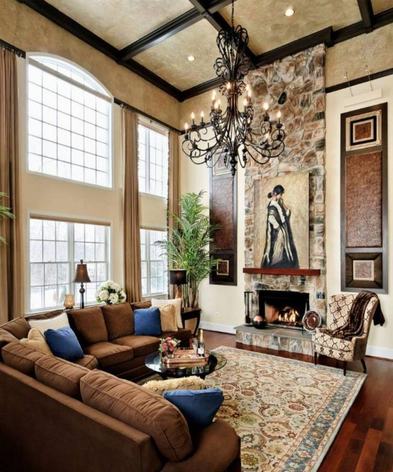 Living Room High Ceiling Tuscan Ideas White Gold Table On Rug Black Brown Large