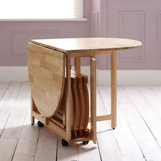14 Space Saving Small Kitchen Table Sets 2019: Folding Dining Table On Wheels + Foldable Chairs That Fit