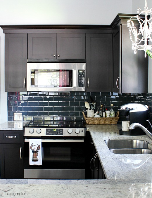 Dark Wood Cabinets Subway Tile Backsplash Cute Unique Idea To