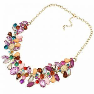 YAZILIND Vogue Multicolor Resin Rhinestone Bib Statement Choker Collar Necklace for Women ** New and awesome super discounts awaits you, Read it now : Women's Fashion for FREE