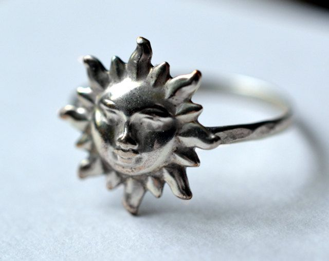 Sun Ring, Sterling Silver Ring, Hammered Silver, Handforged Ring, Silver Sun, Day Ring. $27.00, via Etsy.
