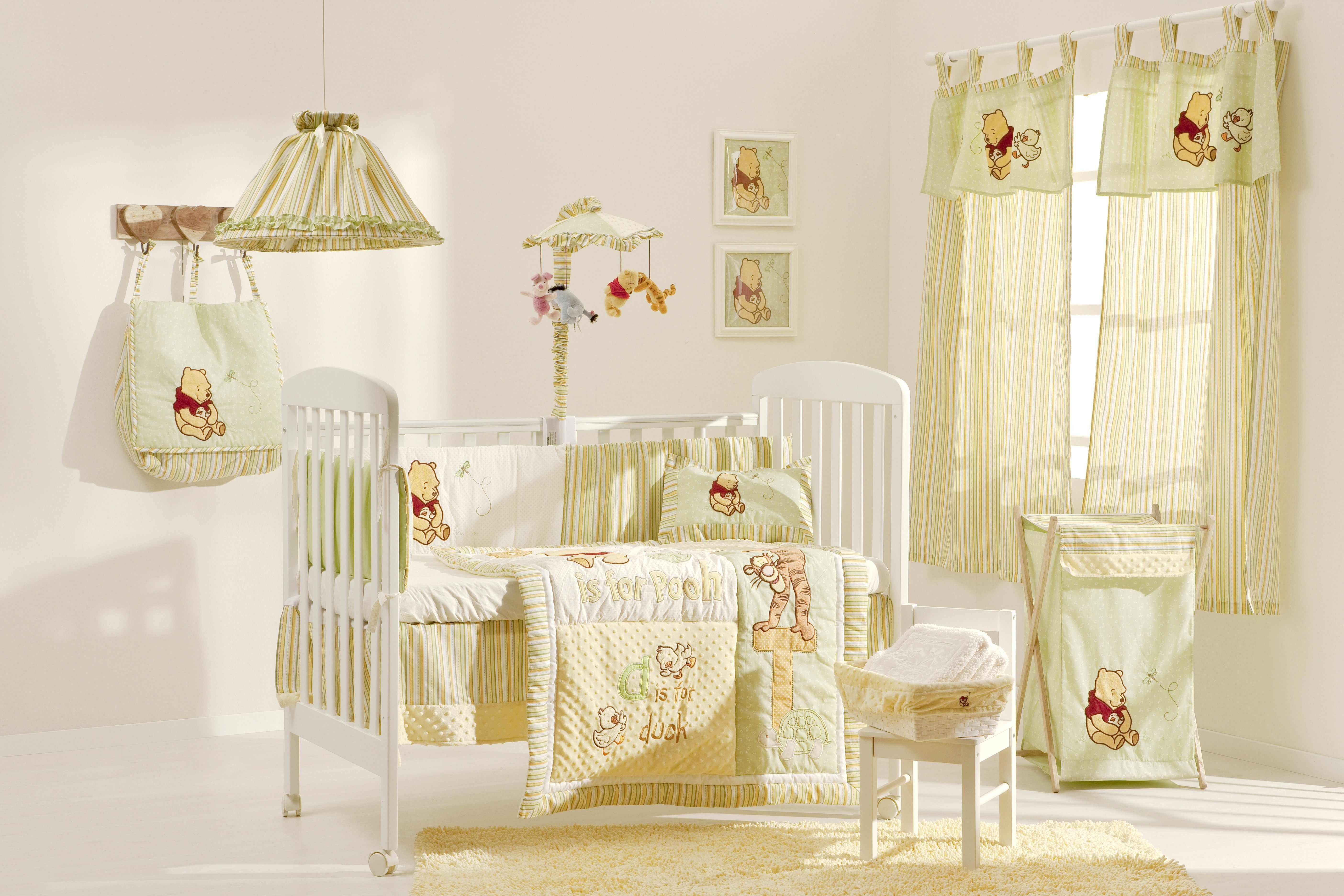 Pooh Bear Nursery In The Field Crib Bedding Collection 4 Pc Set