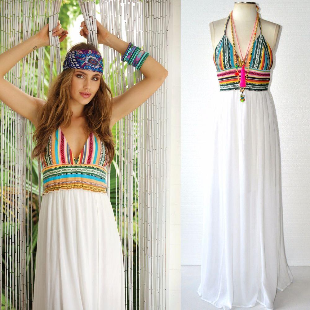 Elan Boho White w/Colorful SARAPE WEAVE Maxi Halter Dress or Beach ...