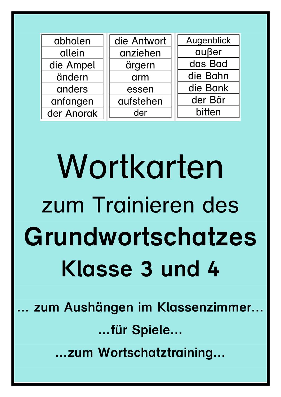 Wortkarten zum Grundwortschatz Klasse 20 und 20 ...