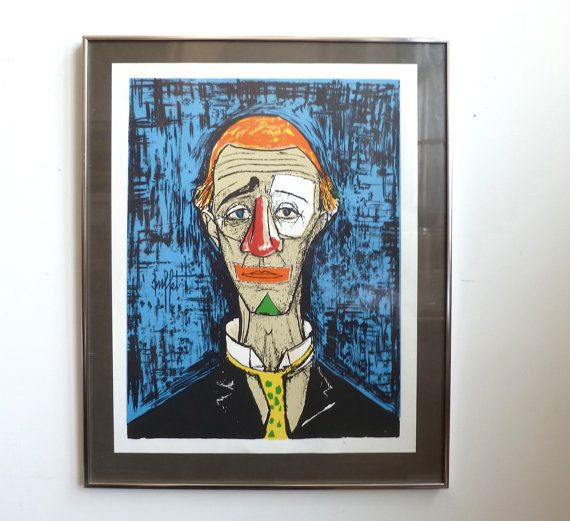 Pleasant Vintage Bernard Buffet Clown Print Poster Tete De Clown Interior Design Ideas Apansoteloinfo