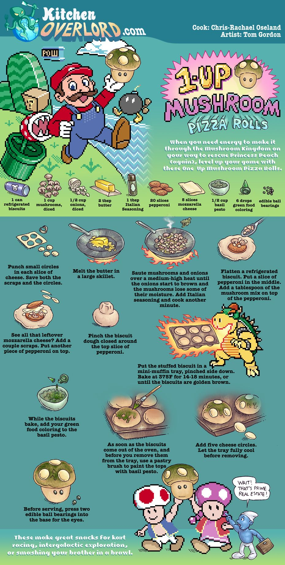 Kitchen Overlord Super Mario 1up Pizza Rolls Illustrated