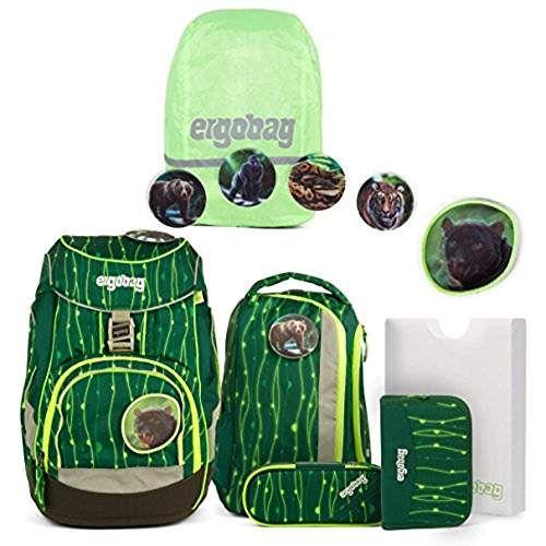 9e582331e3e98 ergobag pack-Set Ranzenset 6-tlg. inkl. Regencape RambazamBär + Shiny Green