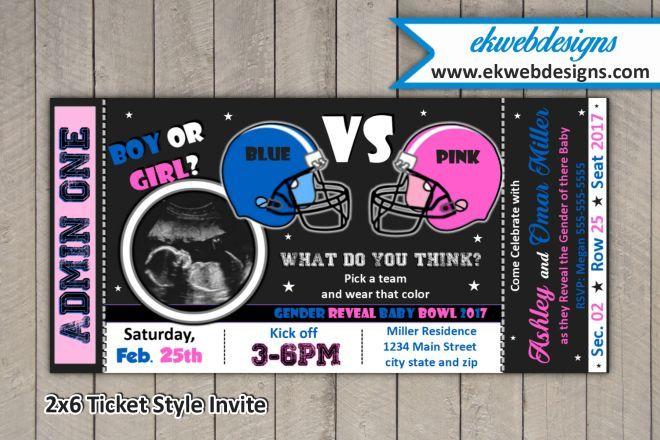 Football Girl VS Boy Gender Reveal Party Invitations Blue Pink
