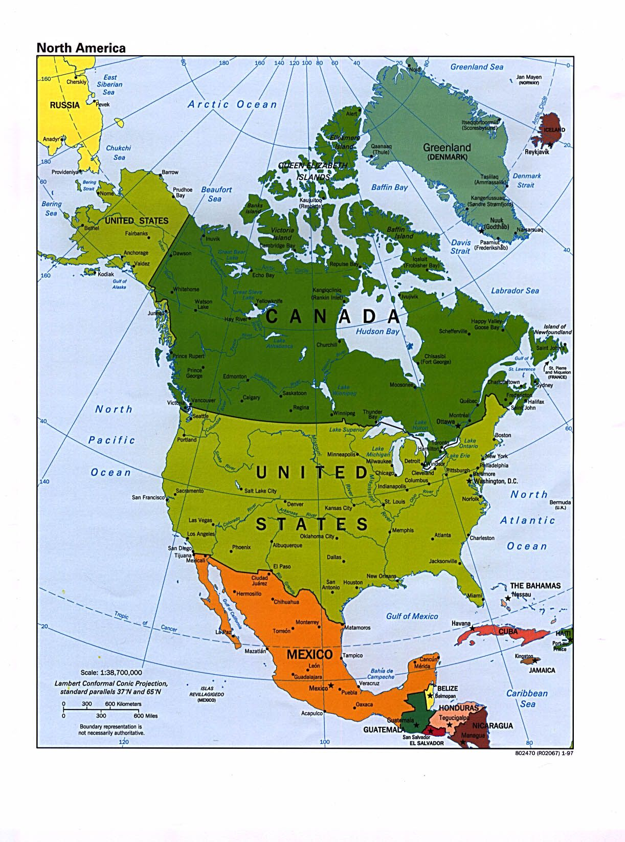 Ubicacion De Canada En Norteamerica Mapa Politico De America Del