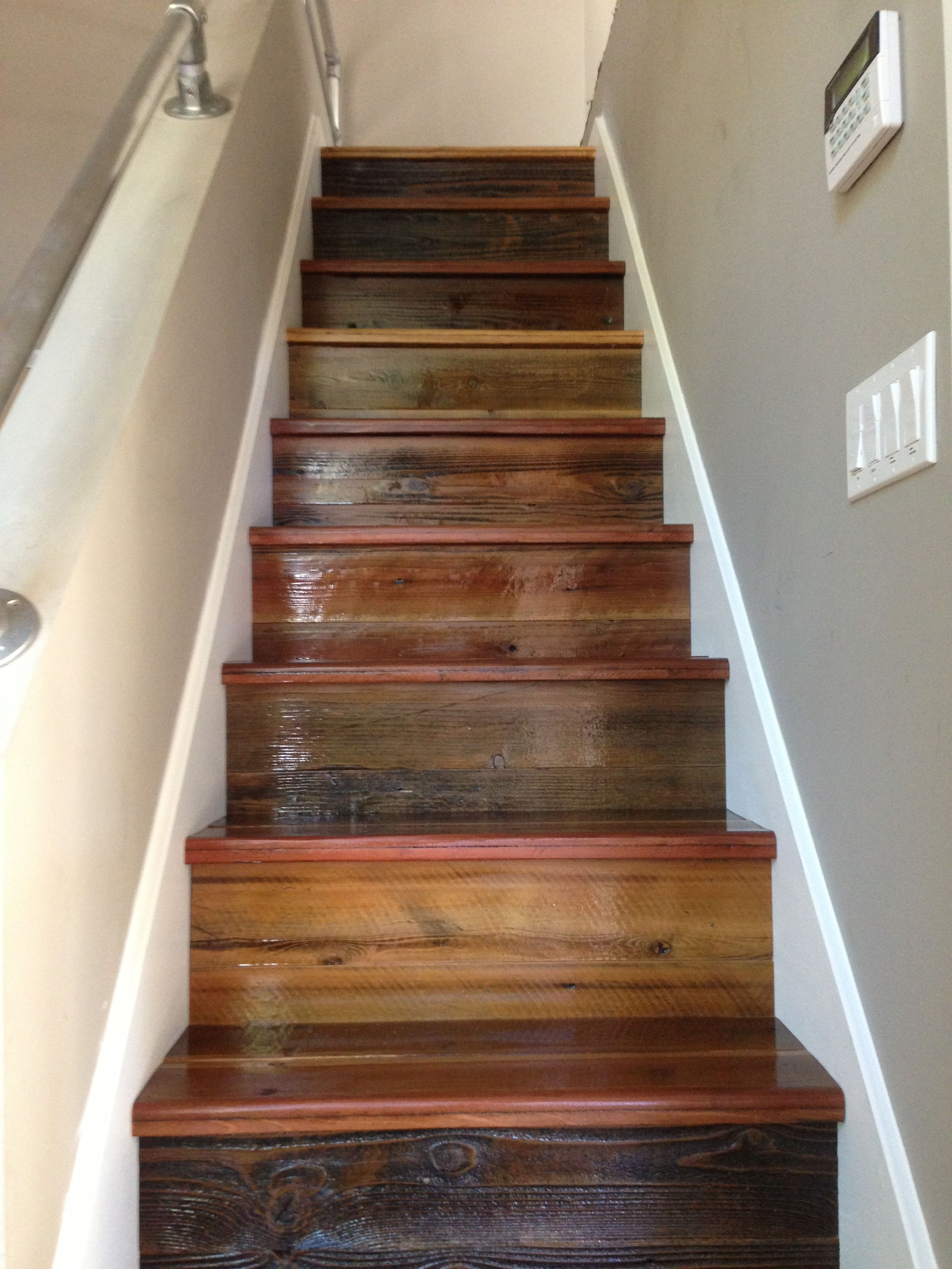 Stairs Made From Reclaimed Wood Www Rewood Us Stair Remodel | Stairs Made Of Wood | Pine | Staircase | Wood Plank | Hanging | Custom Made