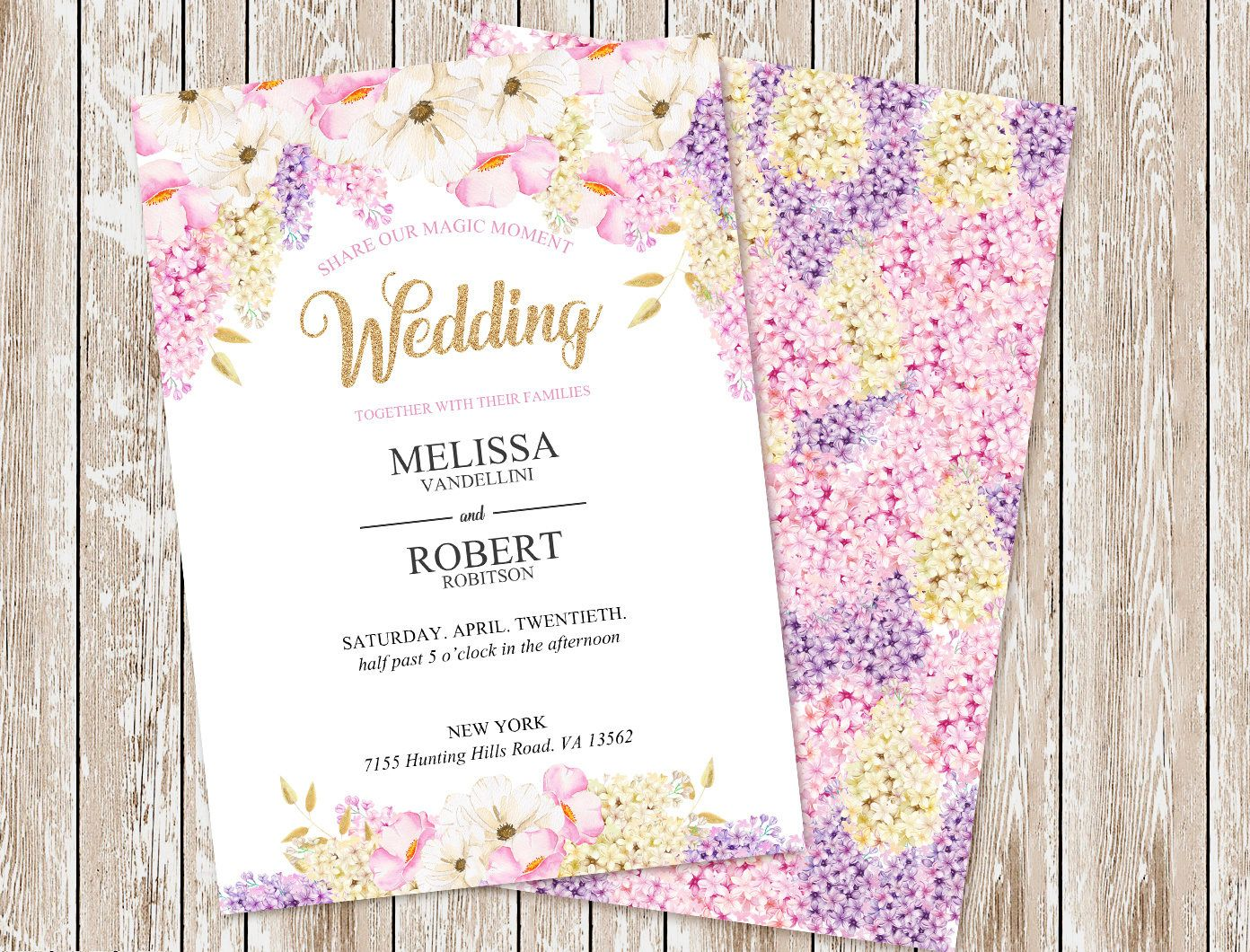 Digital Wedding Invitation, Glitter, Gold, Pink, Flower, Digital ...