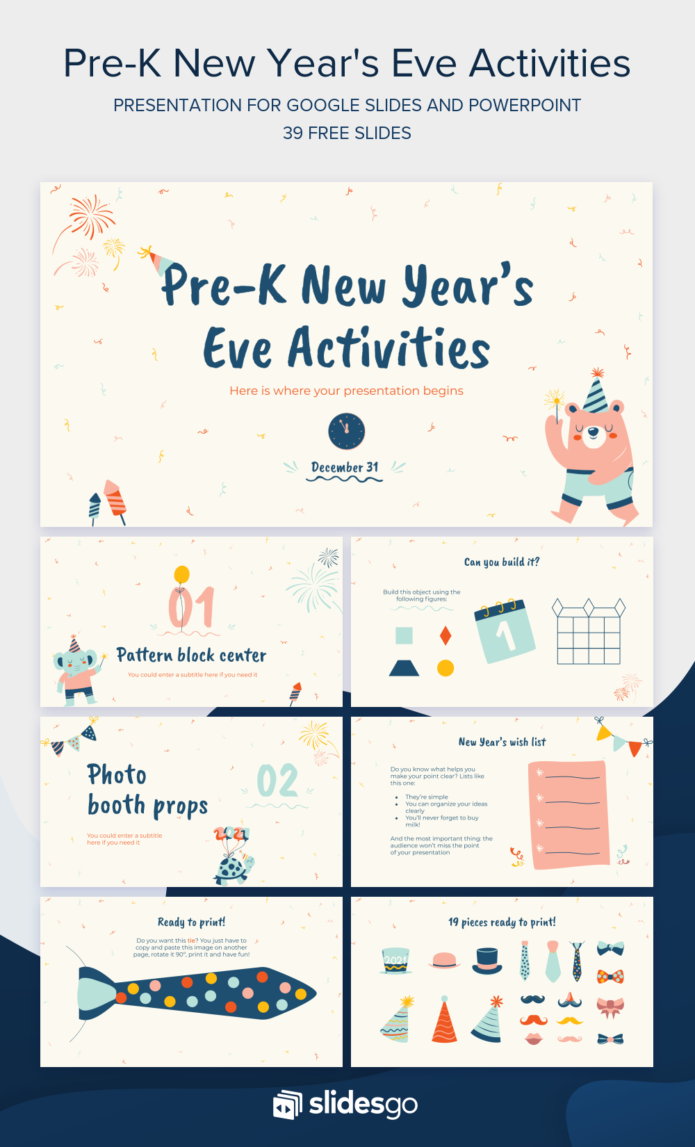Customize This Funny Template For Google Slides And Powerpoint And Add You New Year S Eve Activities Powerpoint Presentation Design Powerpoint Design Templates