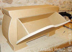 banc en carton avec rangement chaussures par ouverture sur l 39 avant cardboard and paper. Black Bedroom Furniture Sets. Home Design Ideas