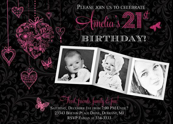 21st Birthday Pink and Black Photo Invitation by PartyPopInvites, $17.00