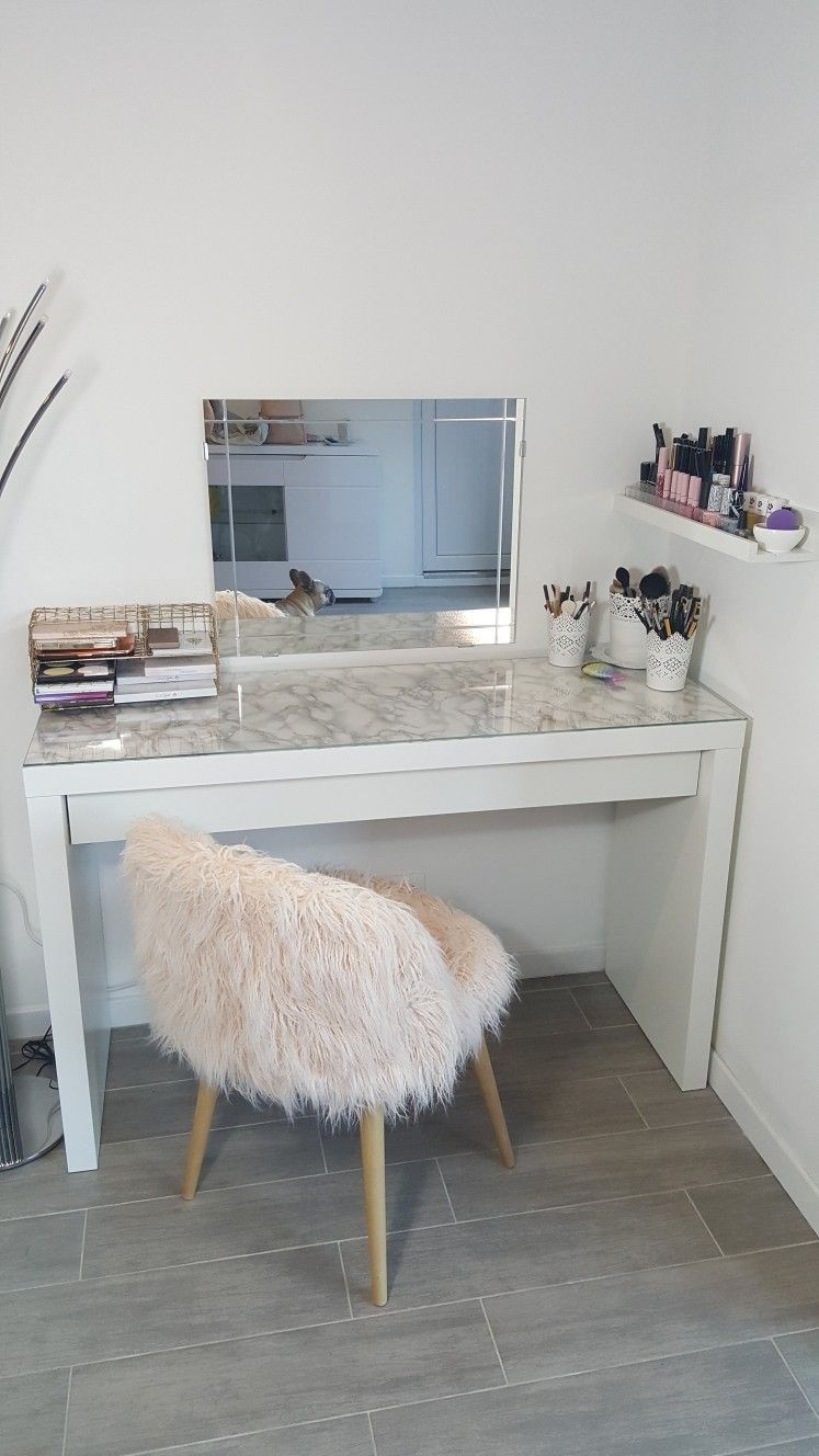 Coiffeuse Malm Ikea Chaise Maisondumonde Miroir Ikea