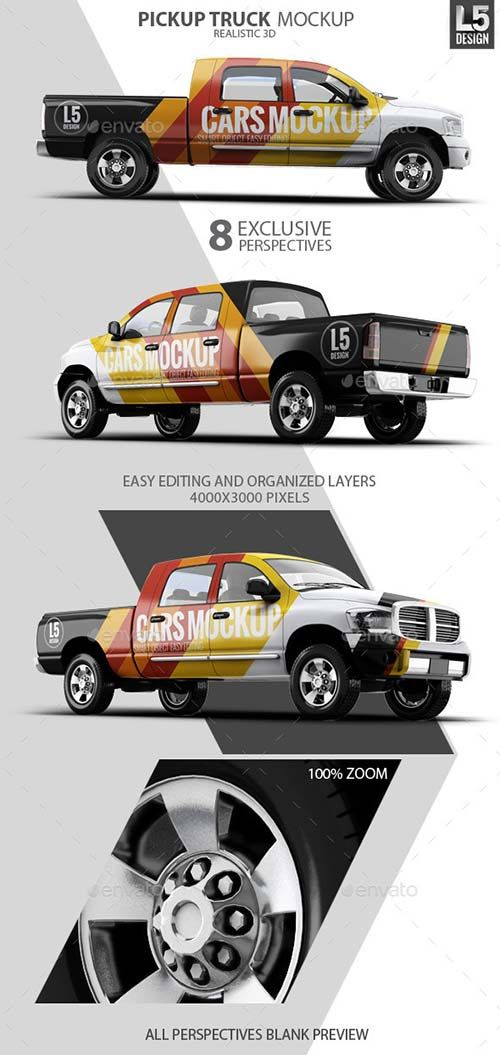 Graphicriver Pickup Truck Mock Up Pickup Trucks Trucks Mocking