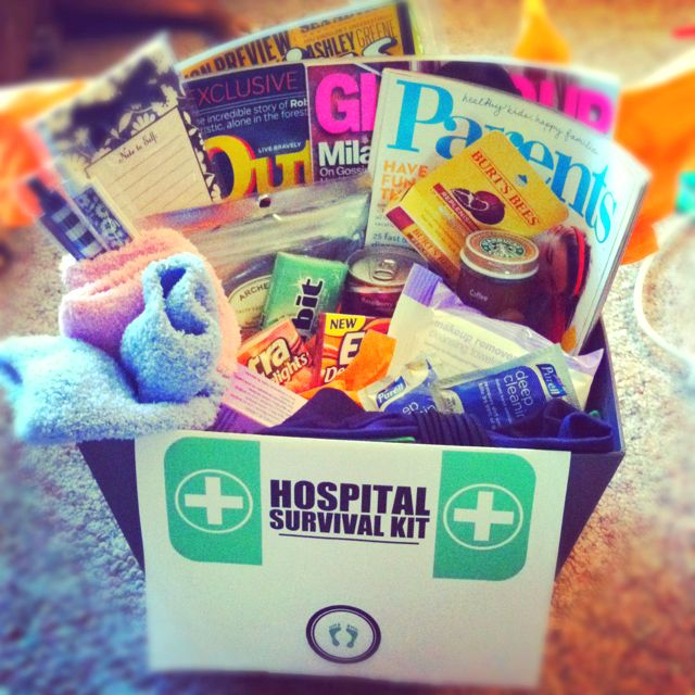 His & hers hospital survival kit :) For her: fuzzy socks ...