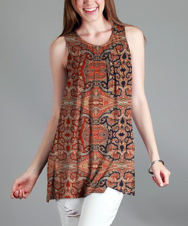 This Rust Geometric Pleated Tunic - Plus is perfect! #zulilyfinds