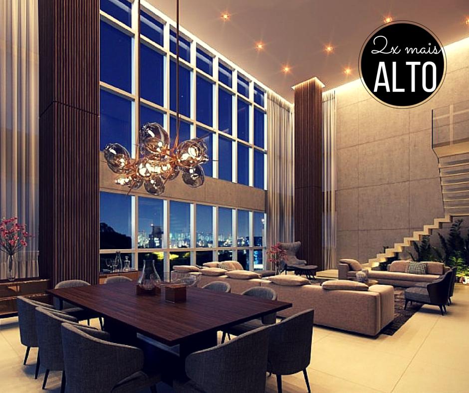Apartamentos com pé-direito duplo, ou seja, com o dobro da altura normal, sempre criam ambientes sofisticados com muito conforto. Mais usual em coberturas duplex, como a do Artsy Itaim.