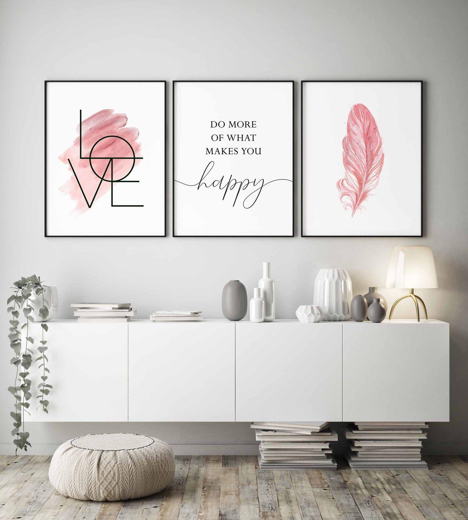 Erröten rosa Wandkunst, Set von 3 Drucke, Schlafzimmer Wandkunst, Mädchen Zimmer Dekor, tun mehr von dem, was Macht Sie glücklich, inspirierende Zitat, Liebe Zeichen, Wandkunst