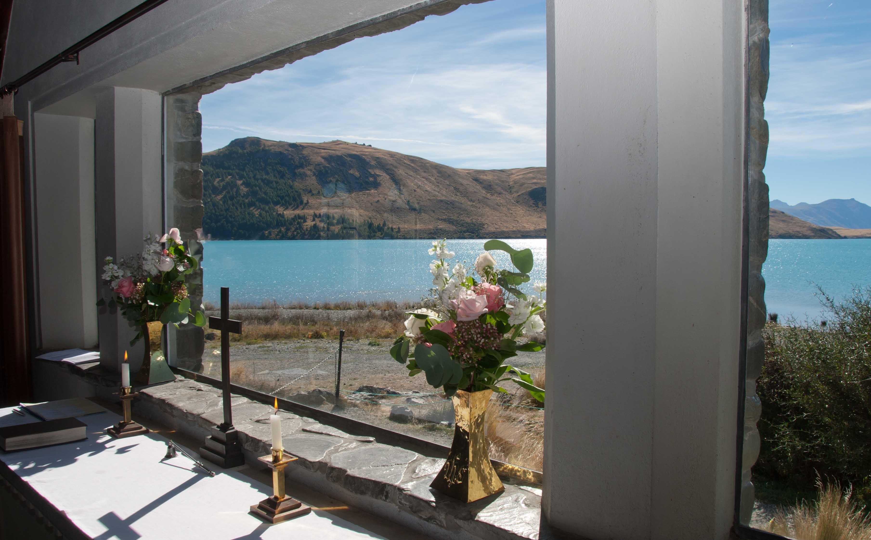 The stunning view you get inside the Church of the Good Shepherd at Lake Tekapo.