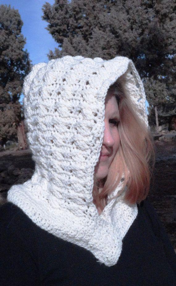 Crochet Hoodie Neck Warmer Hoodie Off by DebsDevineDesigns on Etsy