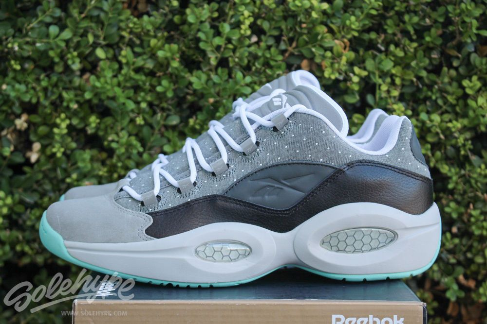timeless design fb1fc 93b33 REEBOK CLASSIC QUESTION LOW 12 BLACK CARBON AQUA WHITE AI ALLEN IVERSON  M49357  Reebok  AthleticSneakers