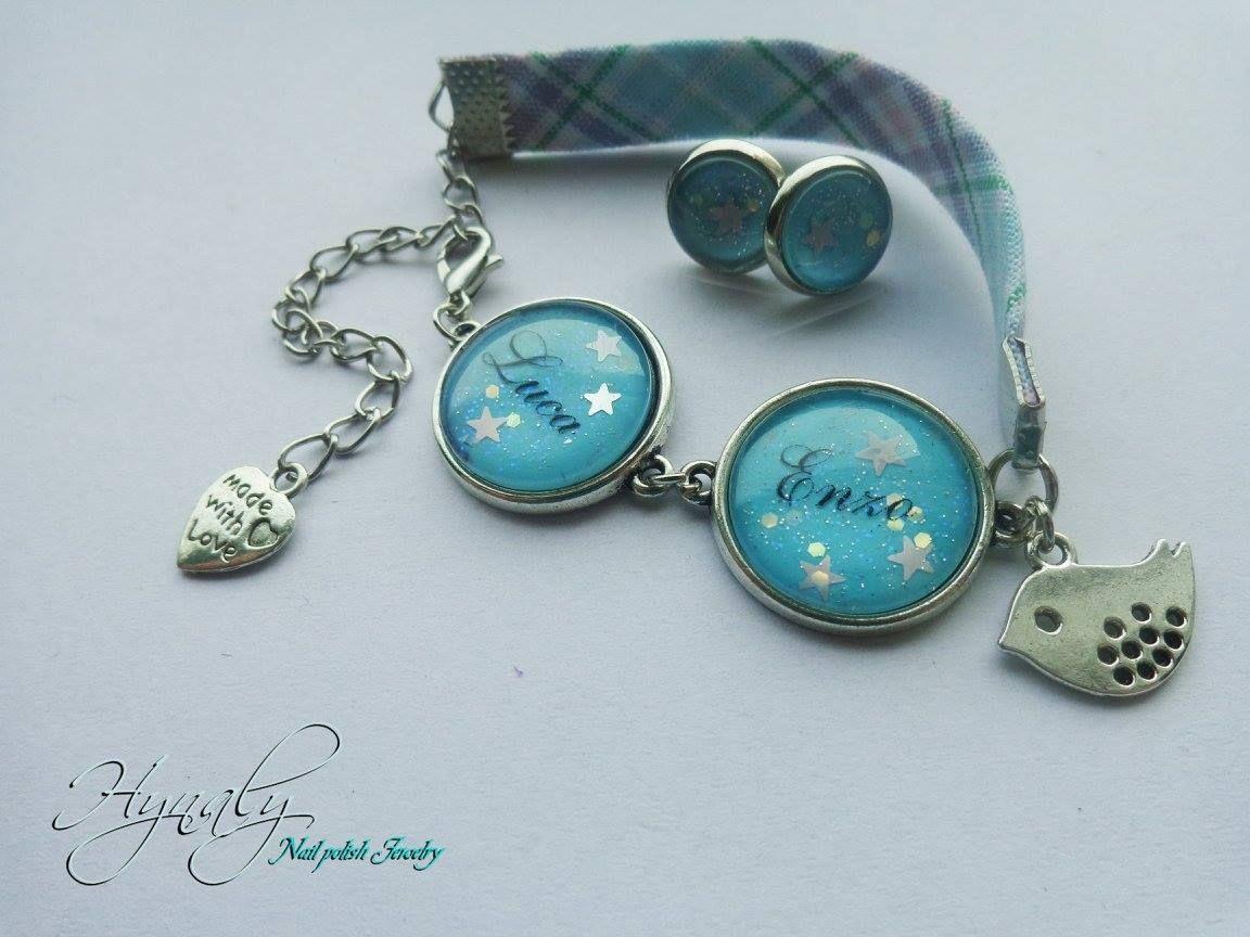 FB: www.facebook.com/Hynalyshop  Bracelet en tissu avec deux cabochons avec prénoms Turquoise à paillettes étoilées