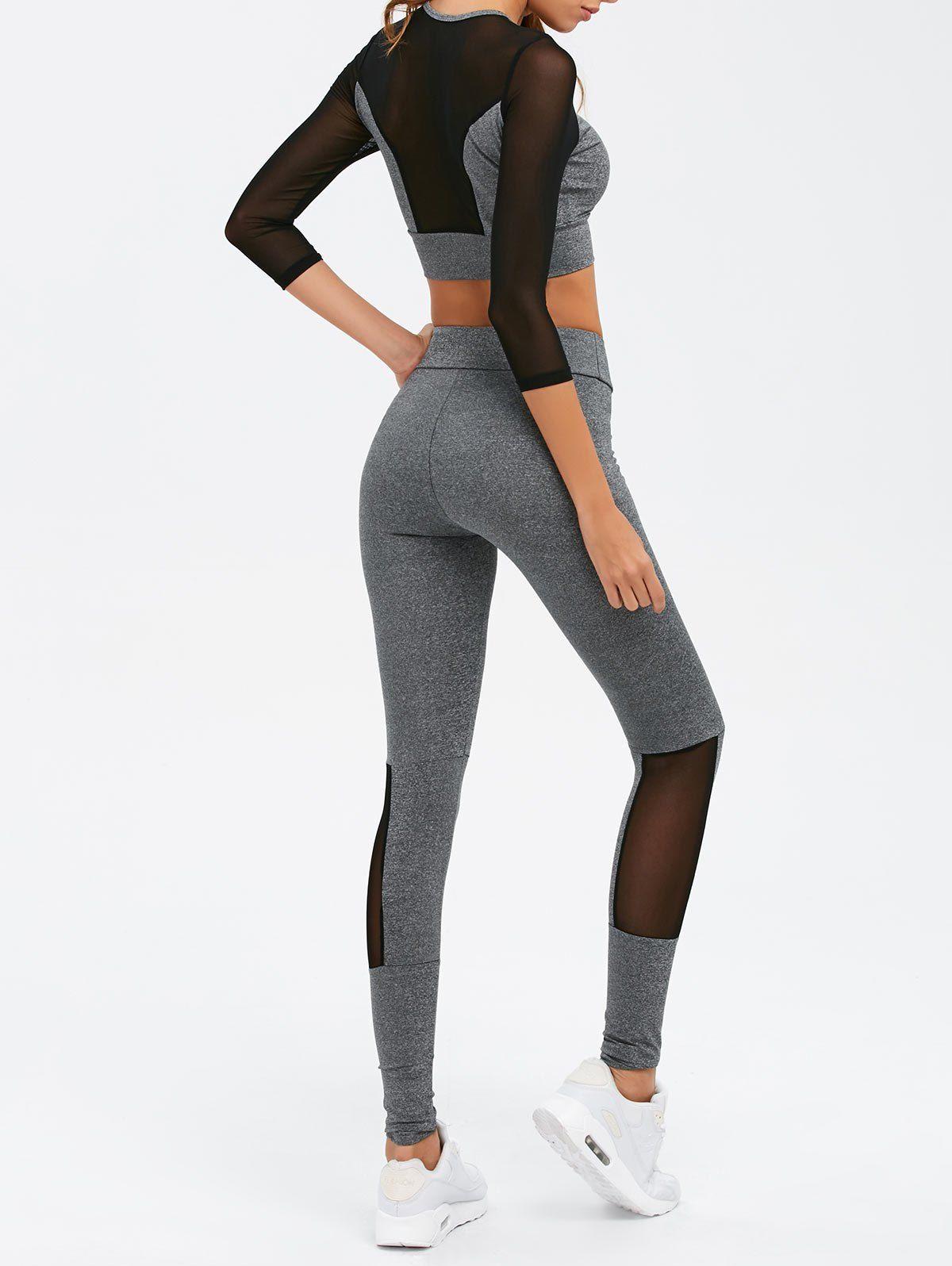 4aafbd9aab9 $21.02 for Mesh Spliced Skinny Sport Suit GRAY: Gym Sets | ZAFUL ...