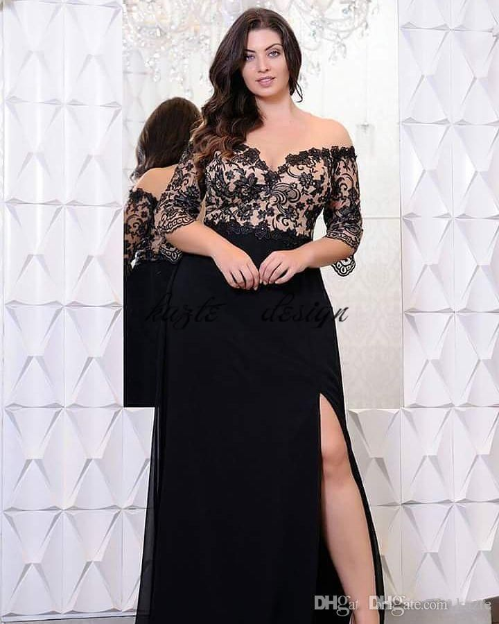 15d9394f773d Black Lace Plus Size Prom Dresses With Half Sleeves Off The Shoulder V-Neck  Split Side Evening Gowns A-Line Chiffon Formal Dress