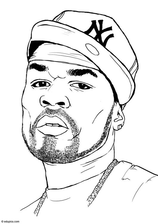 Coloring Page 50 Cent Img 15399 People Coloring Pages Rapper Art Hip Hop Artwork