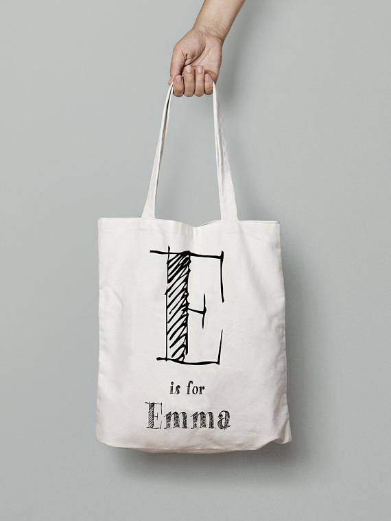 dad2854a7a Custom name bag, canvas tote bag personalized, monogram bag tote, your text  here, your logo here, p