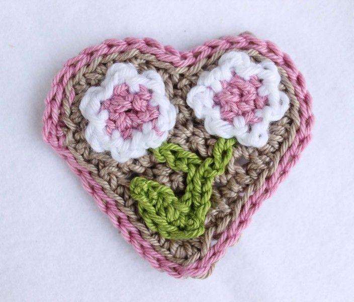 Rosa Herz Heart Applikation Gehäkelt Dirndl Frühling Spring Von