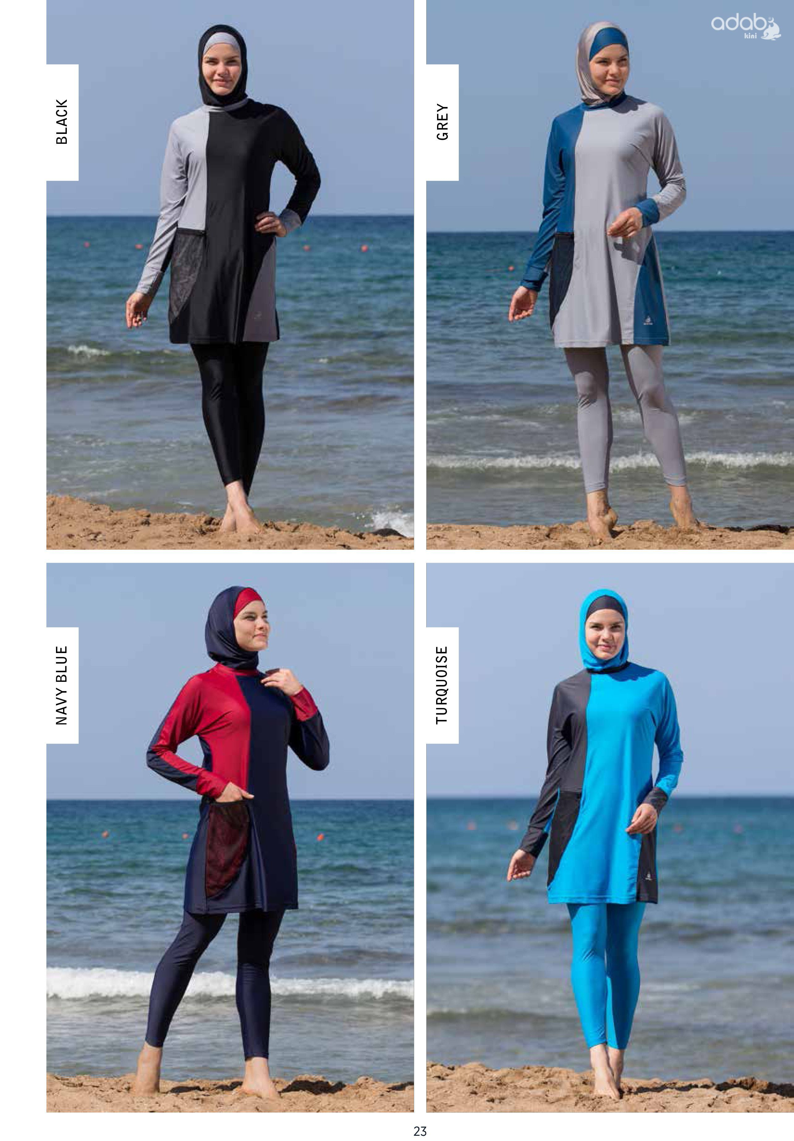497388b486 Adabkini DURU Women's Swimsuit Full Cover Hijab Burkini Islamic, Hindu, Arab,  Jewish Swimwear