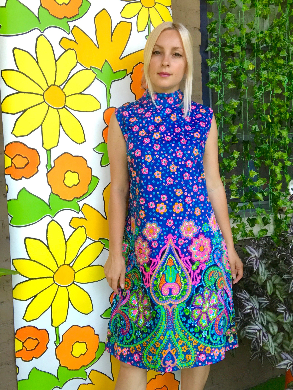 Vintage 21s psychedelic kaleidoscope print sleeveless   Etsy ...