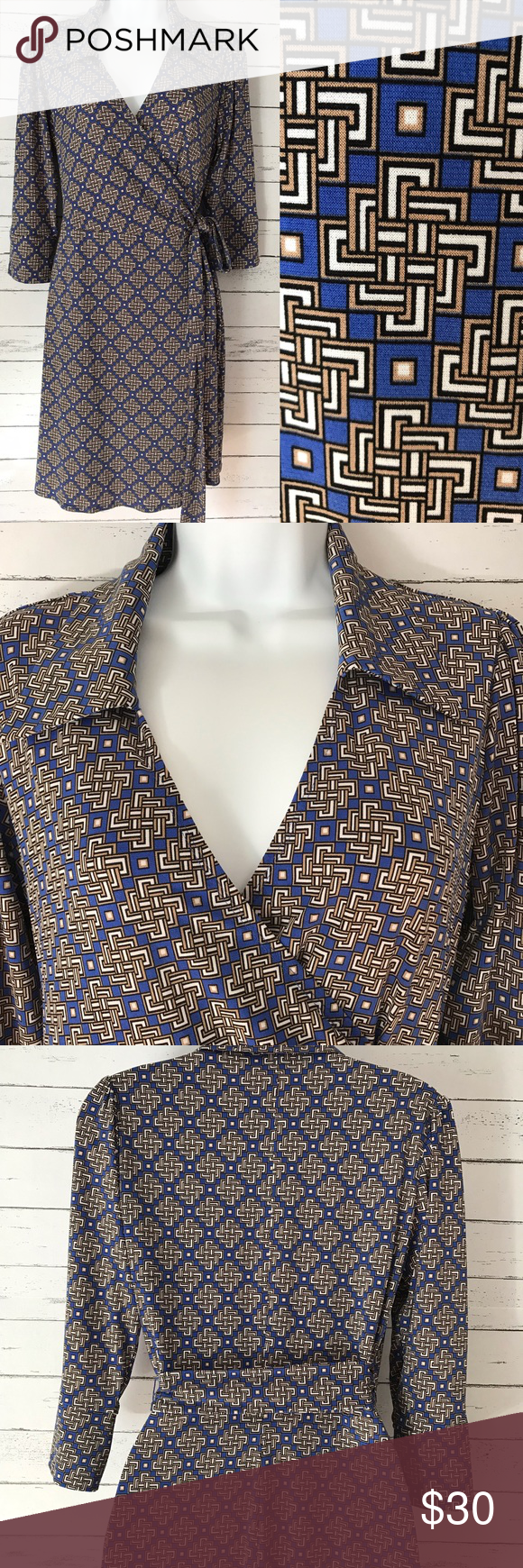 Spotted while shopping on Poshmark Laundry by Shelli Segal Geometric Print Wrap Dress By Shelli Segal  Skirts